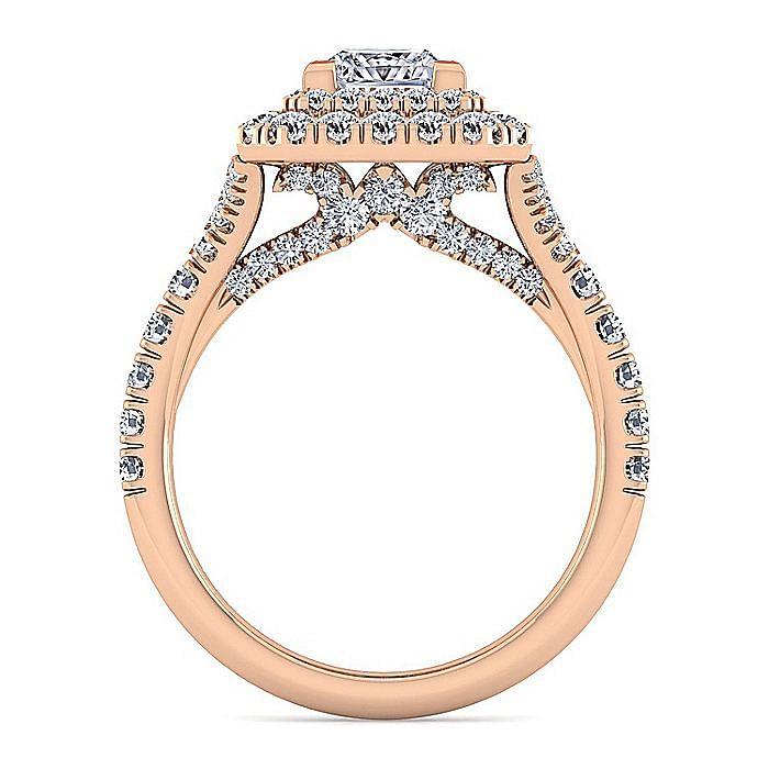 14K Rose Gold Princess Cut Diamond Engagement Ring