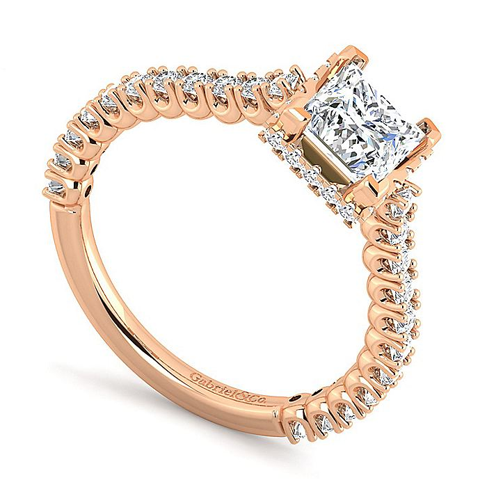 14K Rose Gold Princess Cut Diamond Engagement Ring
