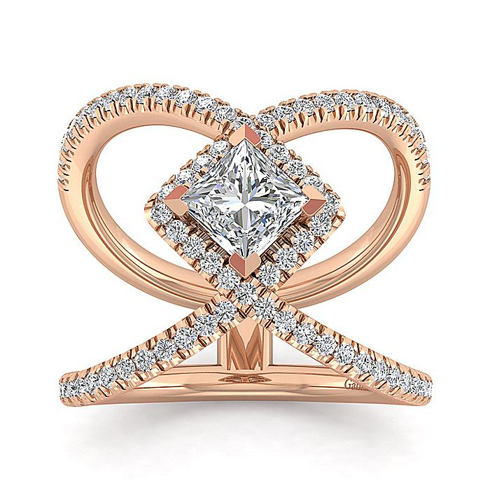 14K Rose Gold Princess Cut Halo Diamond Engagement Ring