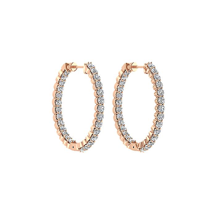 14K Rose Gold Prong Set 25mm Round Inside Out Diamond Hoop Earrings