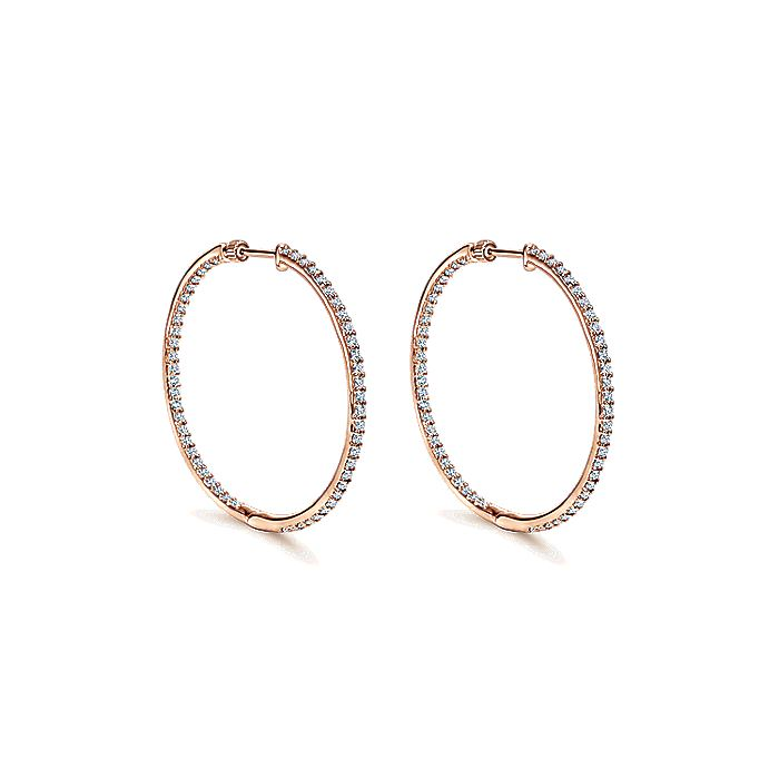 14K Rose Gold Prong Set 35mm Round Inside Out Diamond Hoop Earrings