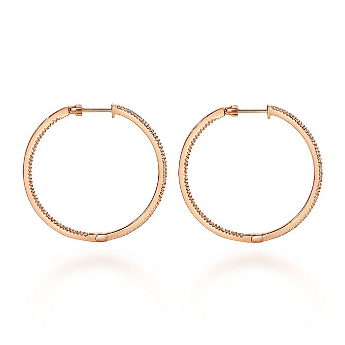 14K Rose Gold Prong Set 40mm Round Inside Out Diamond Hoop Earrings