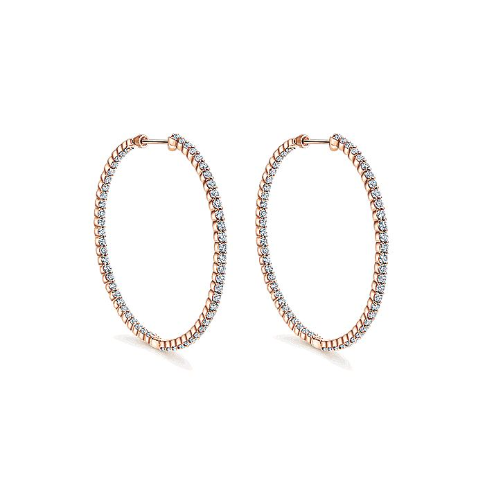 14K Rose Gold Prong Set 50mm Round Inside Out Diamond Hoop Earrings