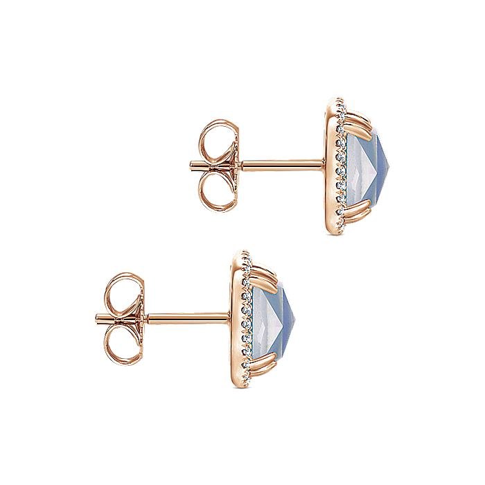14K Rose Gold Rock Crystal and  White Mother of Pearl and Lapis and Diamond Earrings