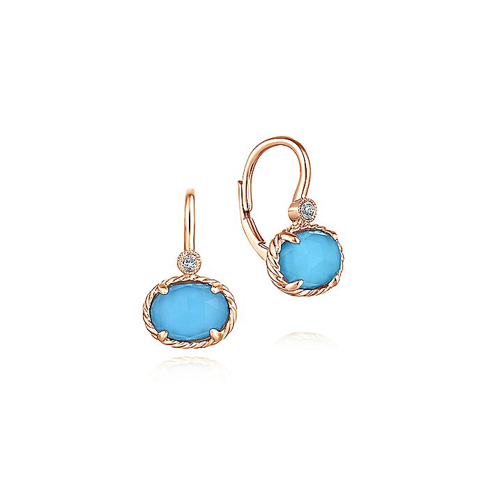 14K Rose Gold Rock Crystal and Turquoise and Diamond Drop Earrings