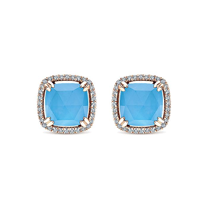 14K Rose Gold Rock Crystal and White Mother of Pearl and Turquoise and Diamond Earrings