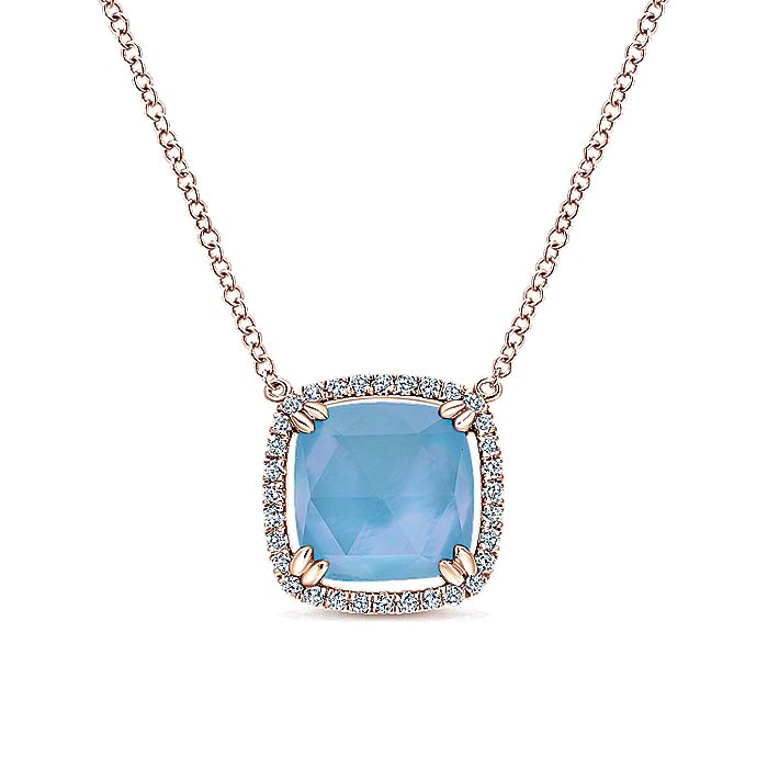 14K Rose Gold Rock Crystal and White Mother of Pearl and Turquoise and Diamond Necklace