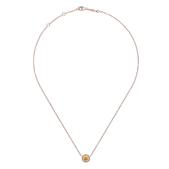 14K Rose Gold Round Citrine and Diamond Halo Pendant Necklace