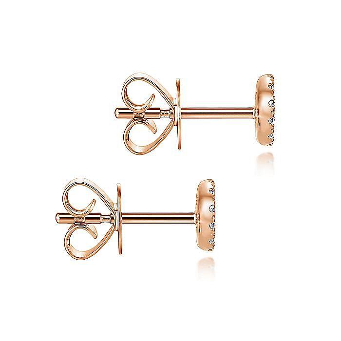 14K Rose Gold Round Cluster Diamond Stud Earrings