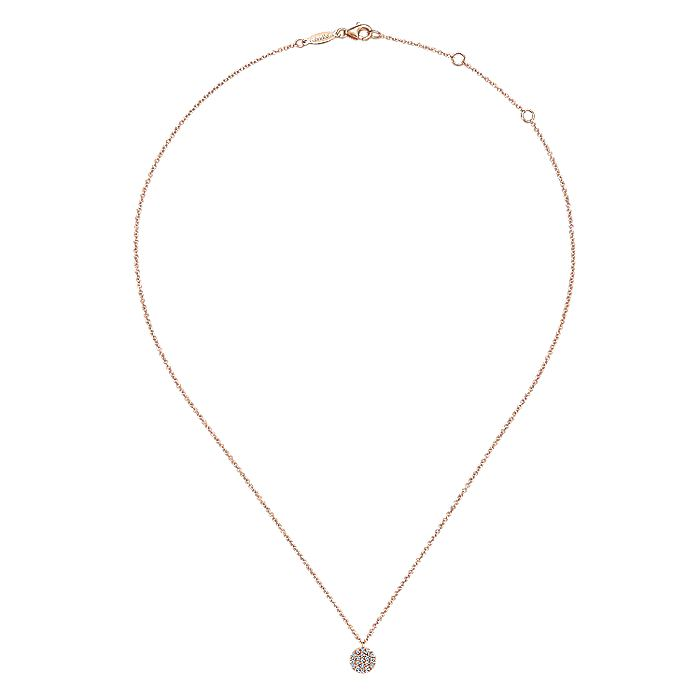 14K Rose Gold Round Diamond Disc Pendant Necklace