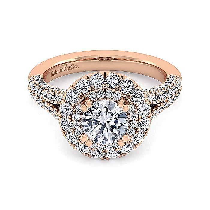 14K Rose Gold Round Double Halo Diamond Engagement Ring