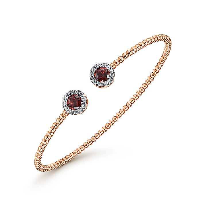 14K Rose Gold Round Garnet and Diamond Halo Bujukan Bangle