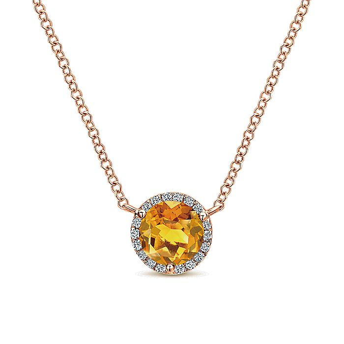 14K Rose Gold Round Halo Citrine and Diamond Pendant Necklace