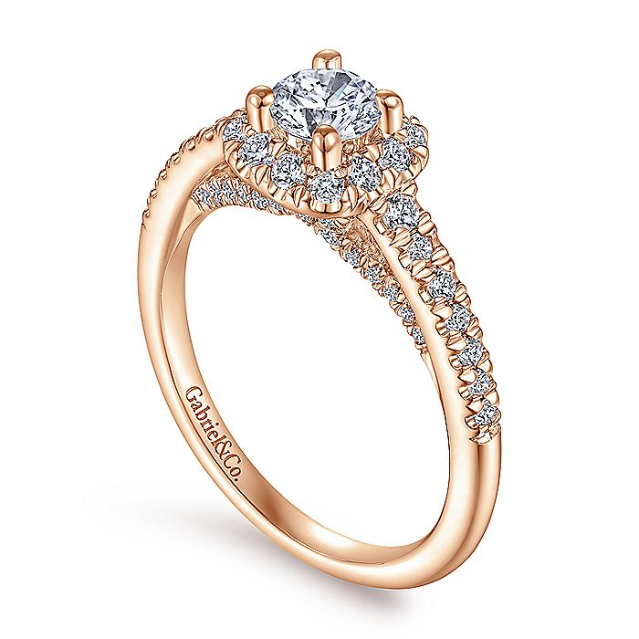 14K Rose Gold Round Halo Complete Diamond Engagement Ring