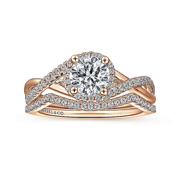 14K Rose Gold Round Halo Diamond Engagement Ring