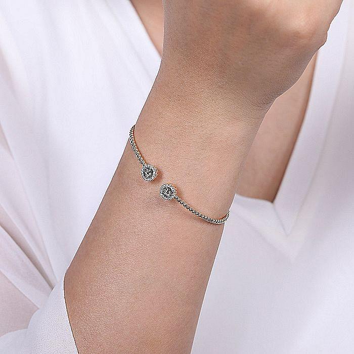 14K Rose Gold Round Manmade Alexandrite and Diamond Halo Bujukan Bangle