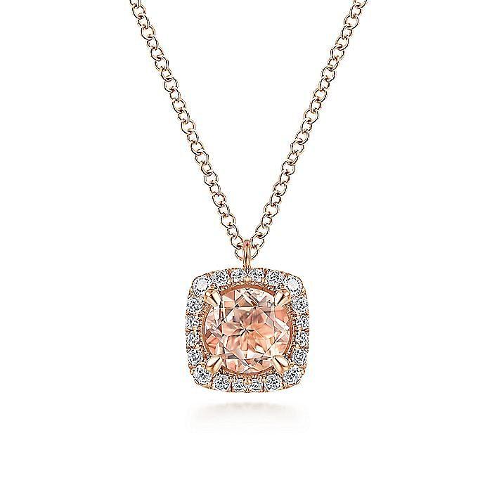14K Rose Gold Round Morganite and Cushion Diamond Halo Pendant Necklace
