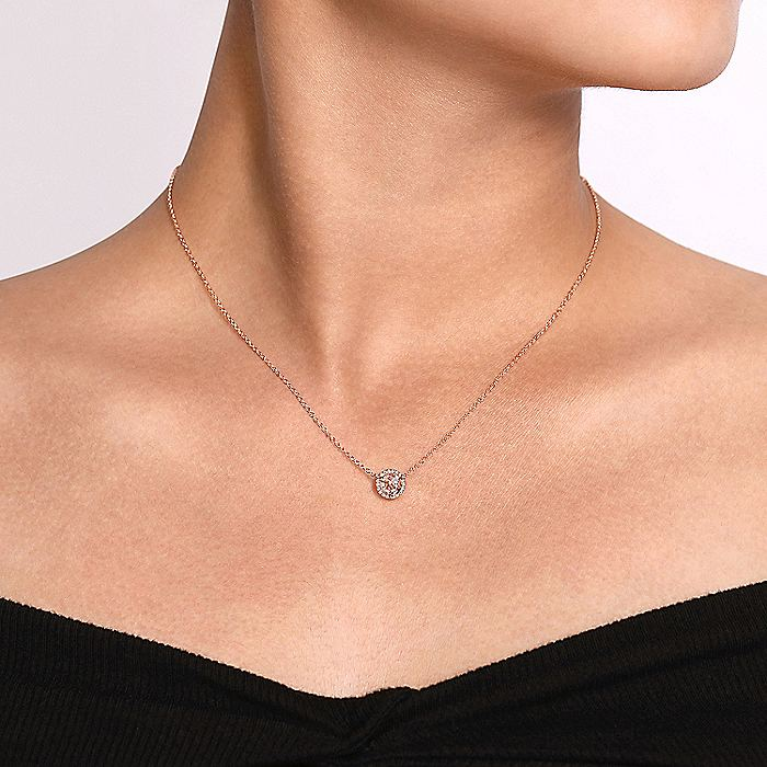 14K Rose Gold Round Morganite and Diamond Halo Pendant Necklace