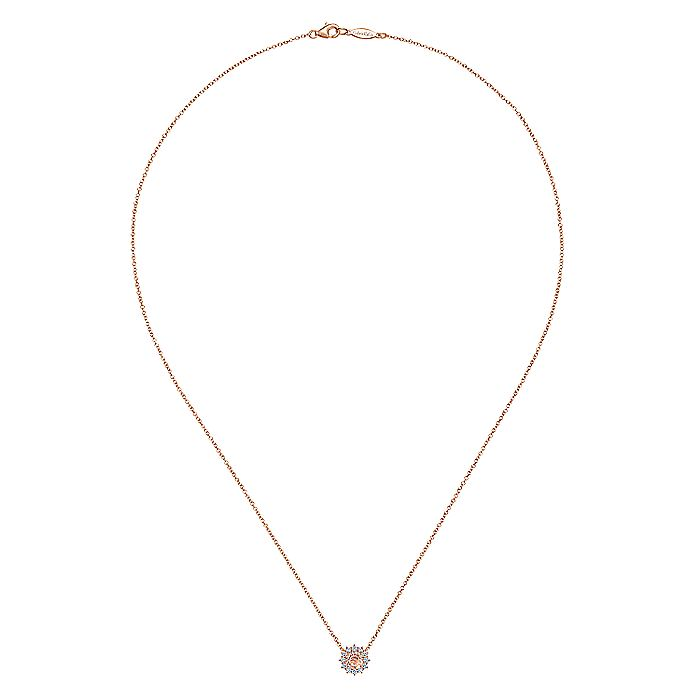 14K Rose Gold Round Morganite and Diamond Halo Pendant Necklace