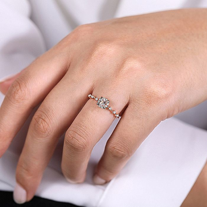 14K Rose Gold Round Morganite and Diamond Halo Ring