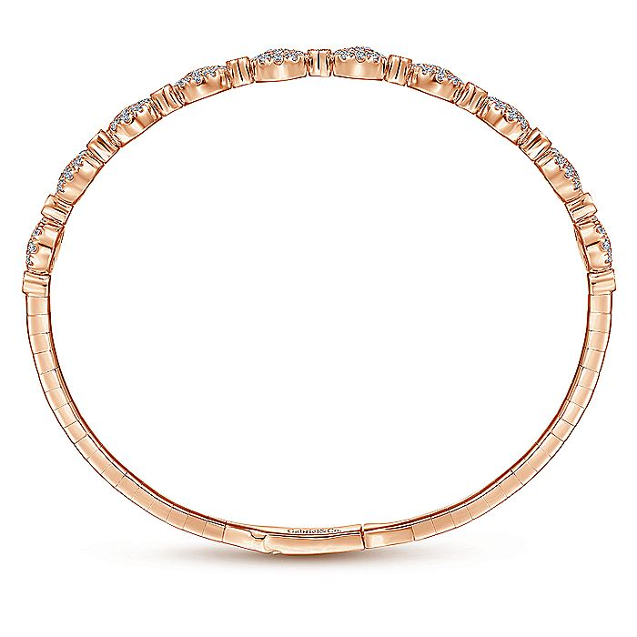 14K Rose Gold Round Pavé Diamond Station Bangle