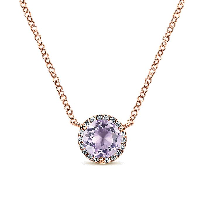 14K Rose Gold Round Pink Amethyst and Diamond Halo Pendant Necklace