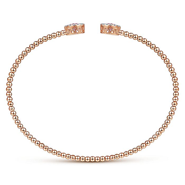 14K Rose Gold Round Pink Zircon and Diamond Halo Bujukan Bangle