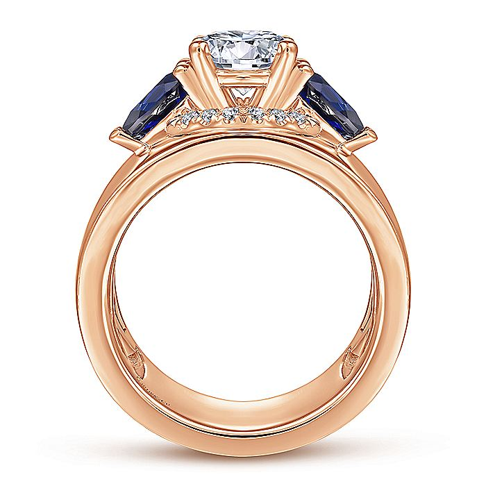 14K Rose Gold Round Sapphire and Diamond Engagement Ring