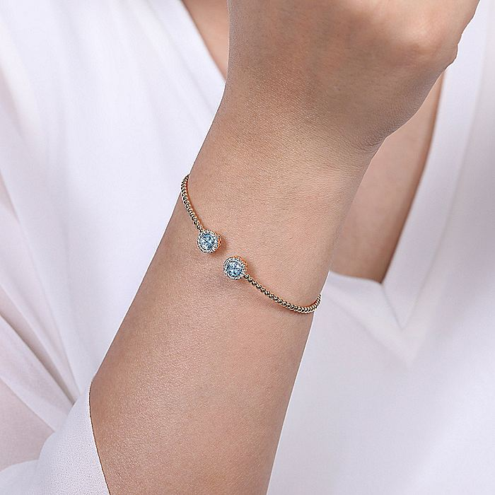14K Rose Gold Round Sky Blue Topaz and Diamond Halo Bujukan Bangle