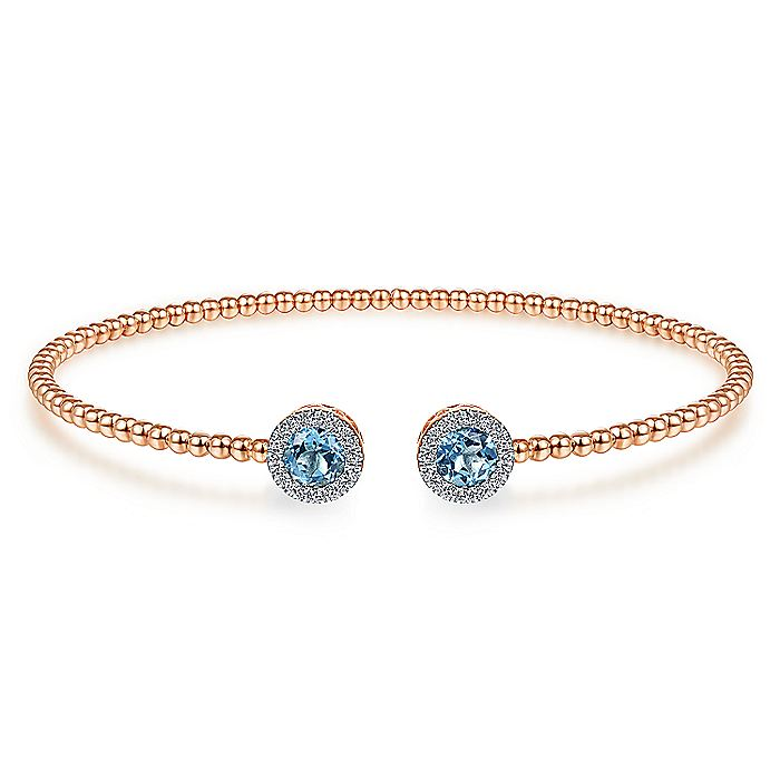 14K Rose Gold Round Swiss Blue Topaz and Diamond Halo Bujukan Bangle