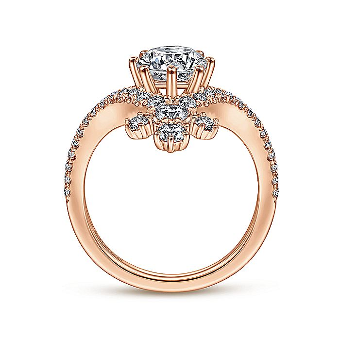 14K Rose Gold Round V Shape Diamond Engagement Ring