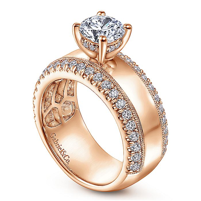 14K Rose Gold Round Wide Band Diamond Engagement Ring