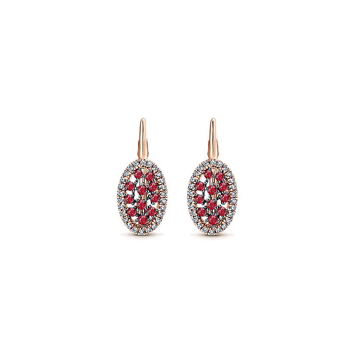 14K Rose Gold Ruby and Diamond Earrings