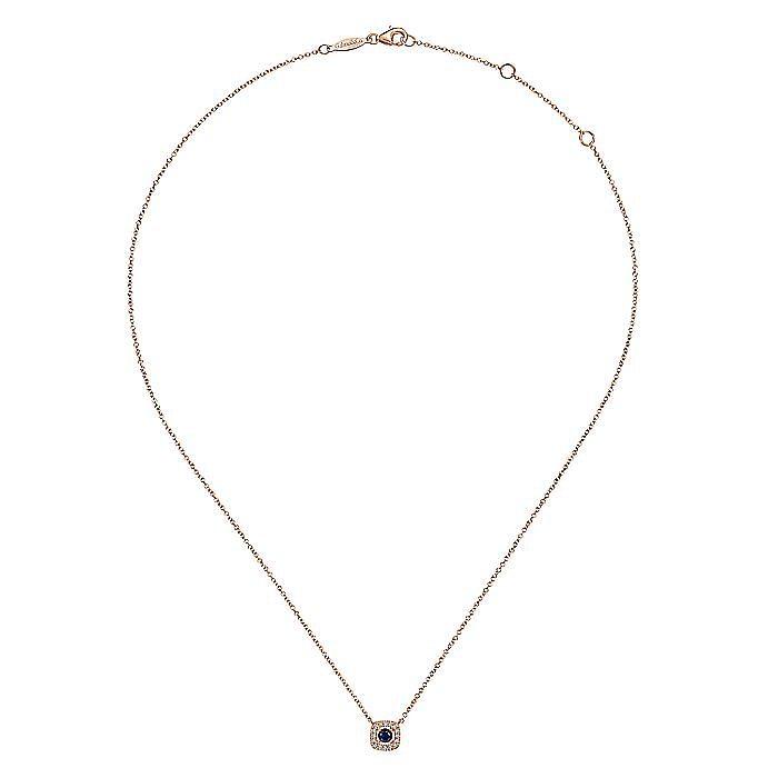 14K Rose Gold Sapphire and Cushion Shape Diamond Halo Pendant Necklace
