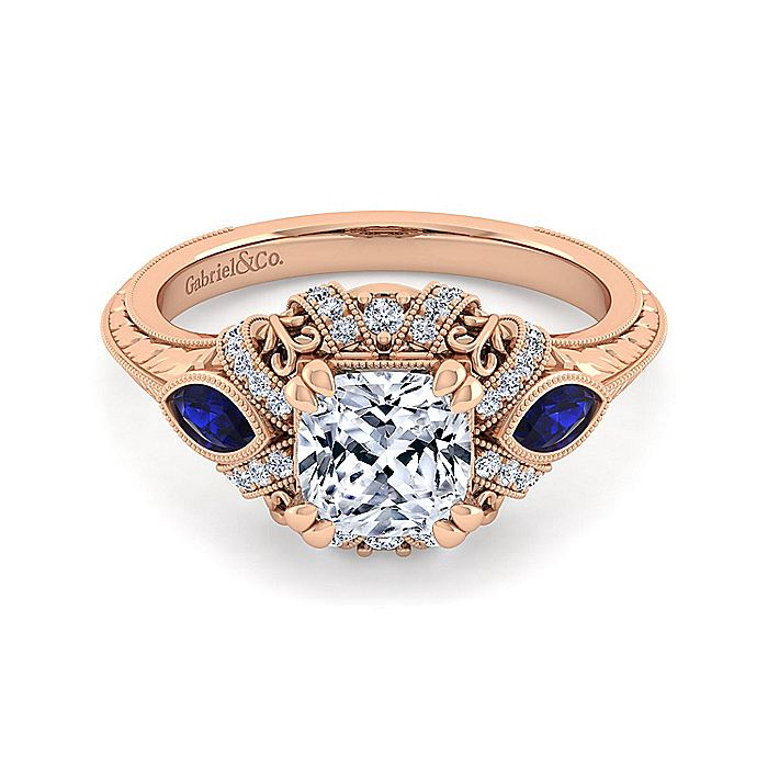 14K Rose Gold Sapphire and Diamond Engagement Ring