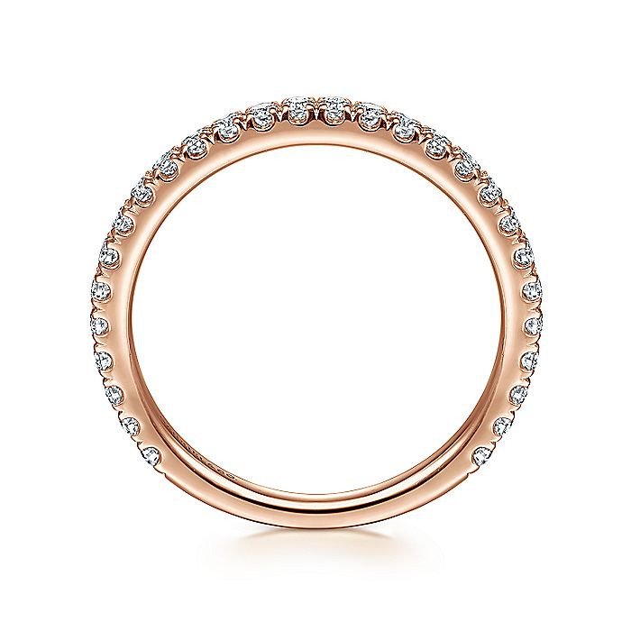 14K Rose Gold Scalloped Diamond Stackable Ring