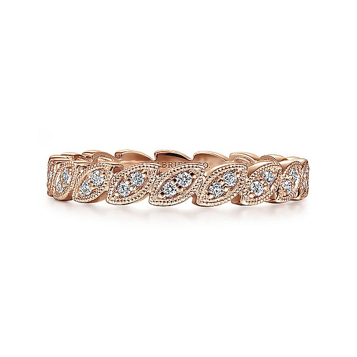 14K Rose Gold Scalloped Marquise Stackable Diamond Ring