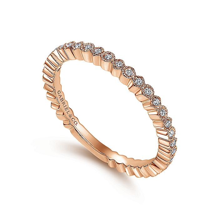14K Rose Gold Scalloped Stackable Diamond Band