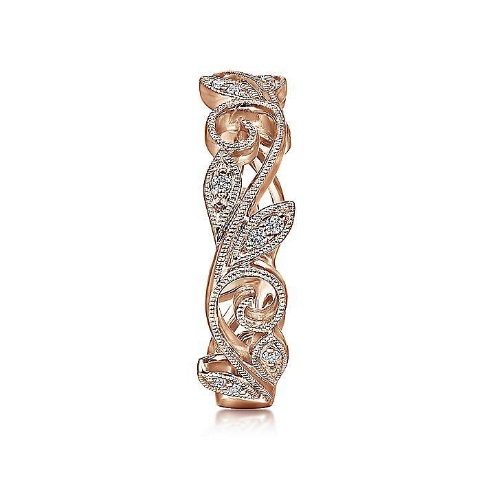 14K Rose Gold Scrolling Floral Diamond Ring