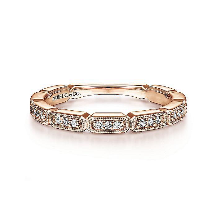 14K Rose Gold Segmented Diamond Stackable Ring