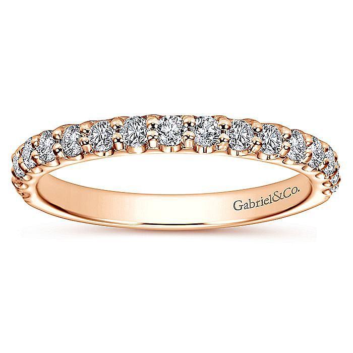 14K Rose Gold Shared Prong Diamond Wedding Band