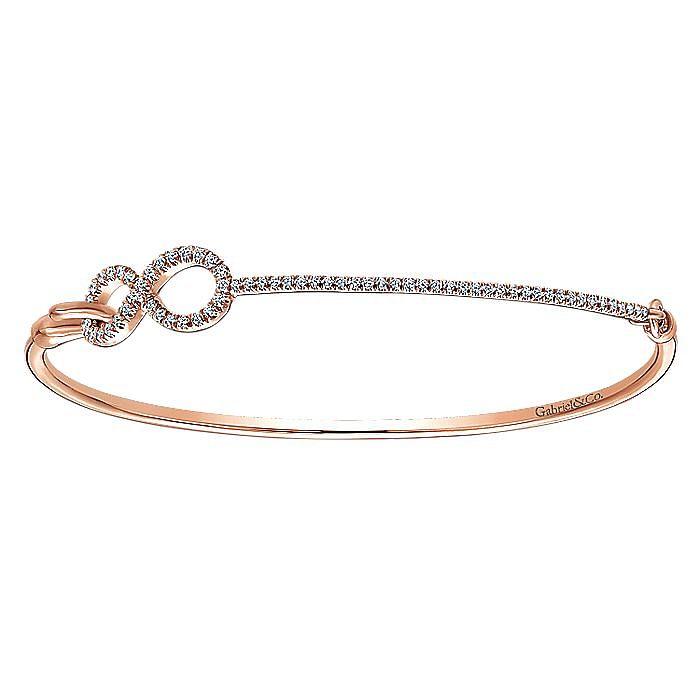 14K Rose Gold Side Diamond Circles Bangle