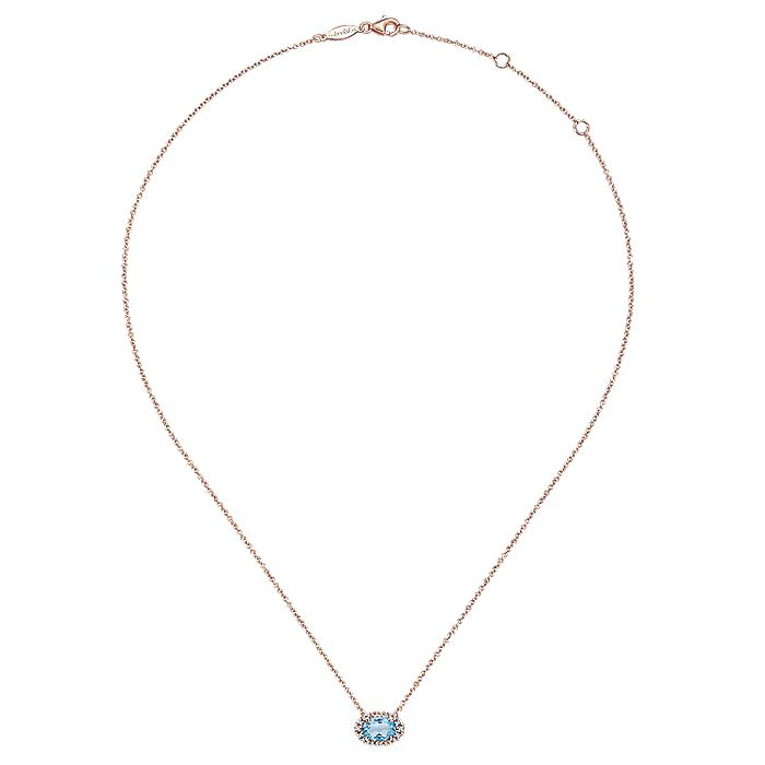 14K Rose Gold Sky Blue Topaz and Diamond Necklace