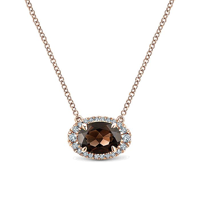 14K Rose Gold Smoky Quartz and Diamond Necklace