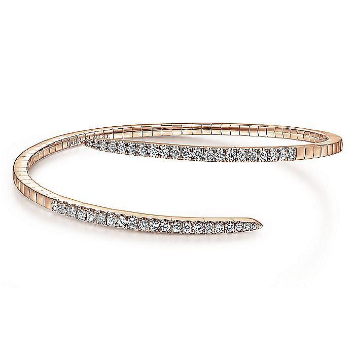 14K Rose Gold Split Bypass Diamond Bangle