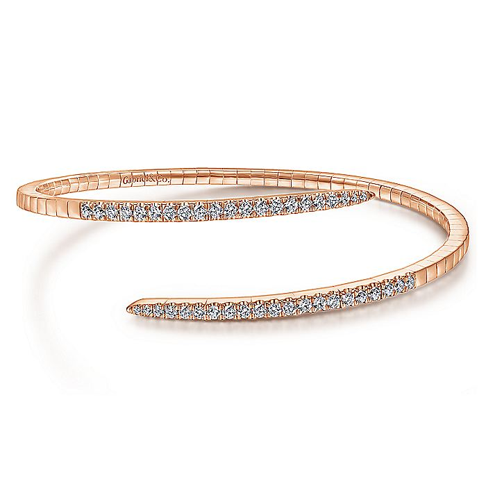 14K Rose Gold Split Bypass Diamond Bangle