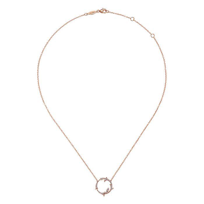 14K Rose Gold Split Chain Diamond Circle Pendant Necklace