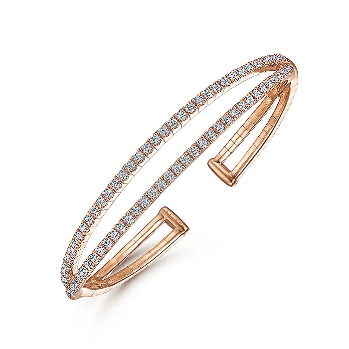 14K Rose Gold Split Diamond Cuff