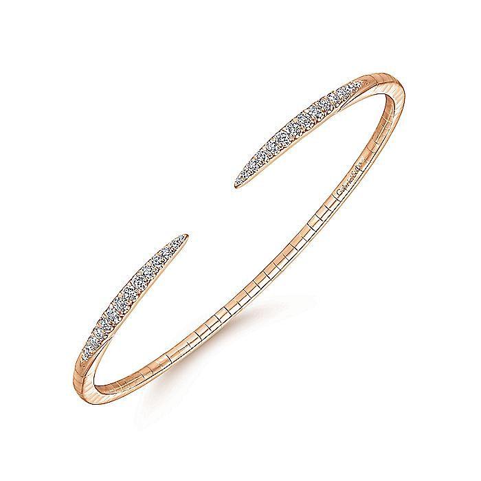 14K Rose Gold Split Diamond Spike Bangle