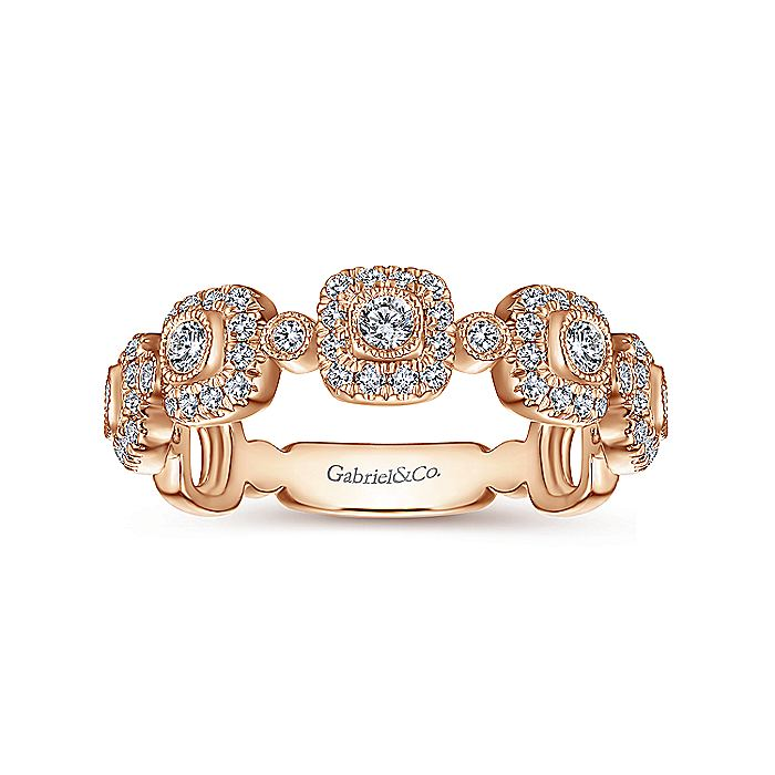 14K Rose Gold Square Station Stackable Diamond Ring